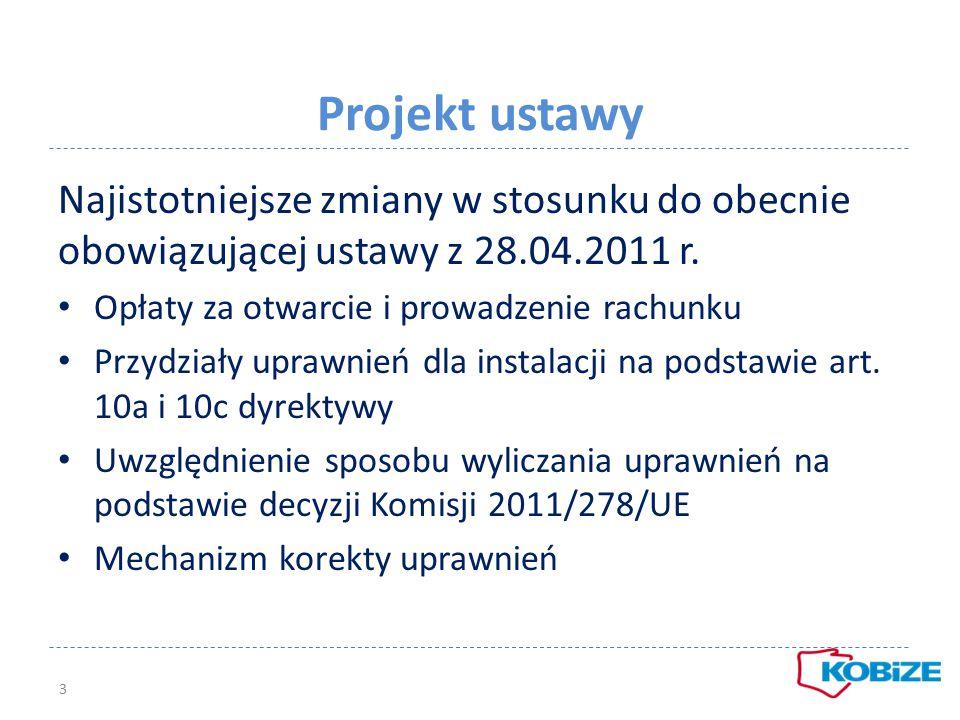 Projekt ustawy Najistotniejsze zmiany w stosunku do obecnie obowiązującej ustawy z 28.04.2011 r. Opłaty za otwarcie i prowadzenie rachunku.