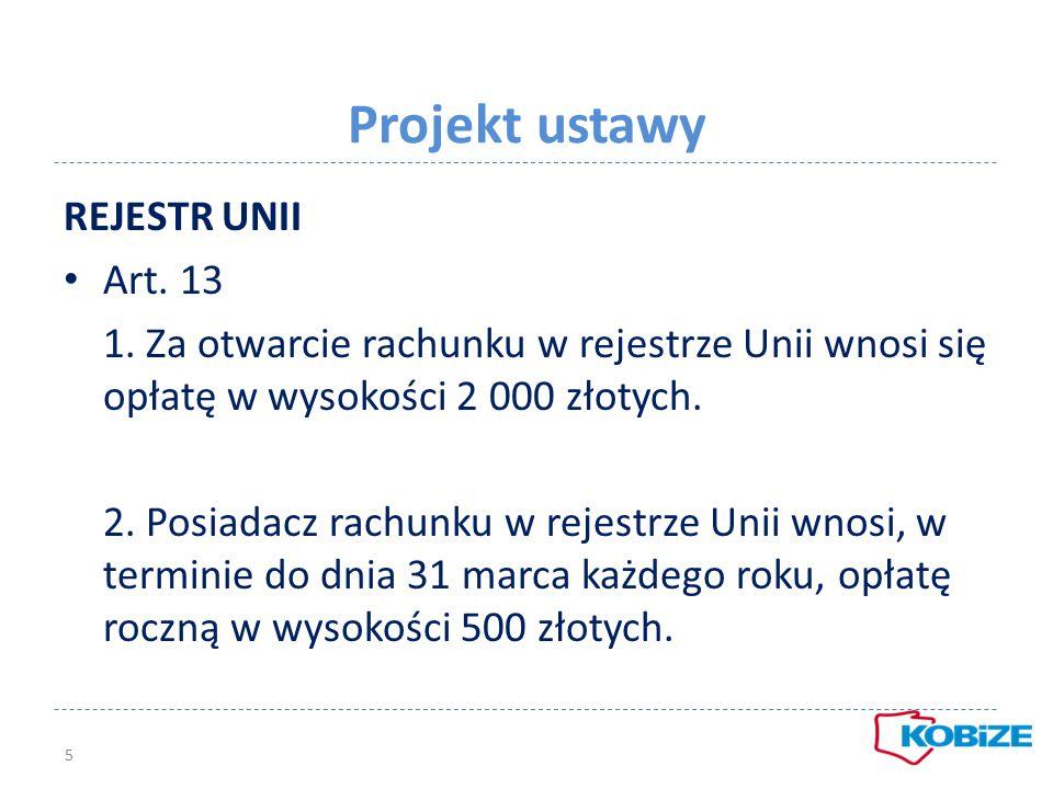 Projekt ustawy REJESTR UNII Art. 13