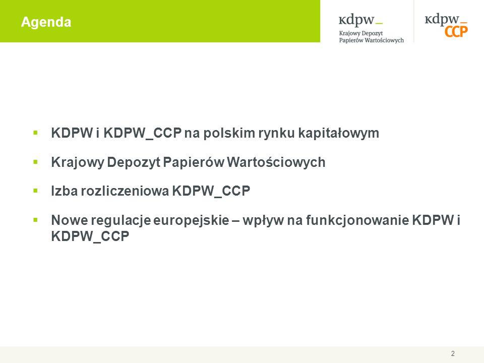 Agenda KDPW i KDPW_CCP na polskim rynku kapitałowym. Krajowy Depozyt Papierów Wartościowych. Izba rozliczeniowa KDPW_CCP.