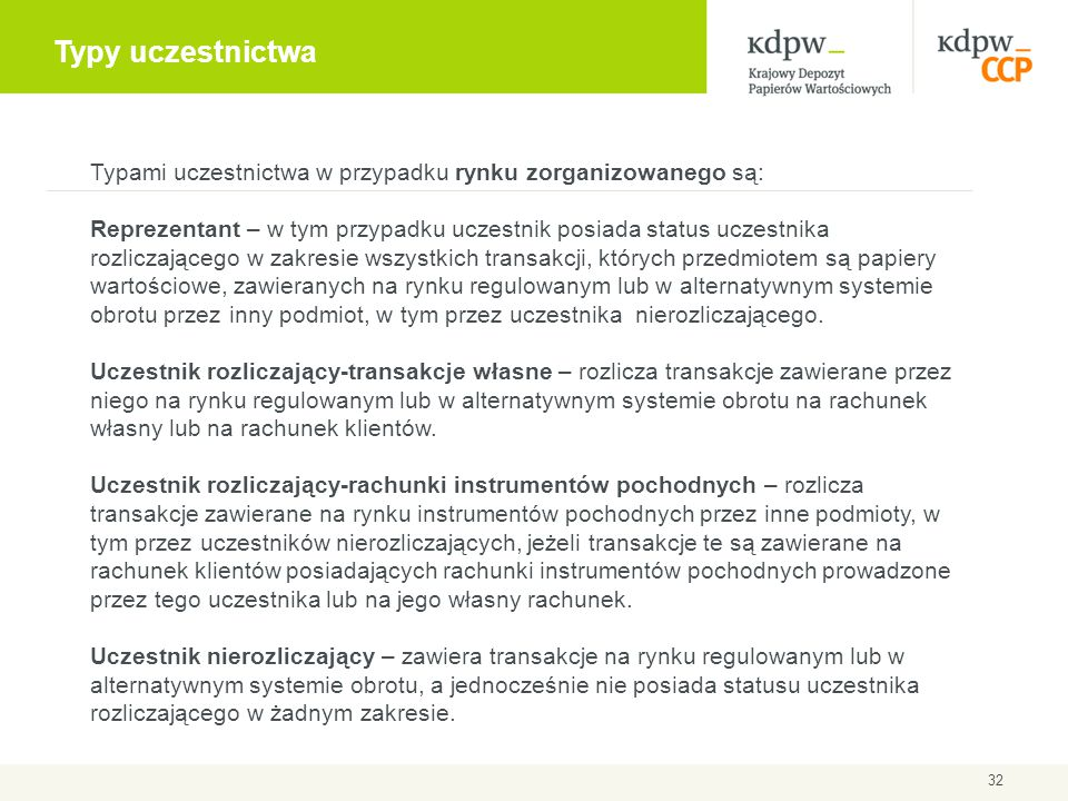 Typy uczestnictwa Typami uczestnictwa w przypadku rynku zorganizowanego są: