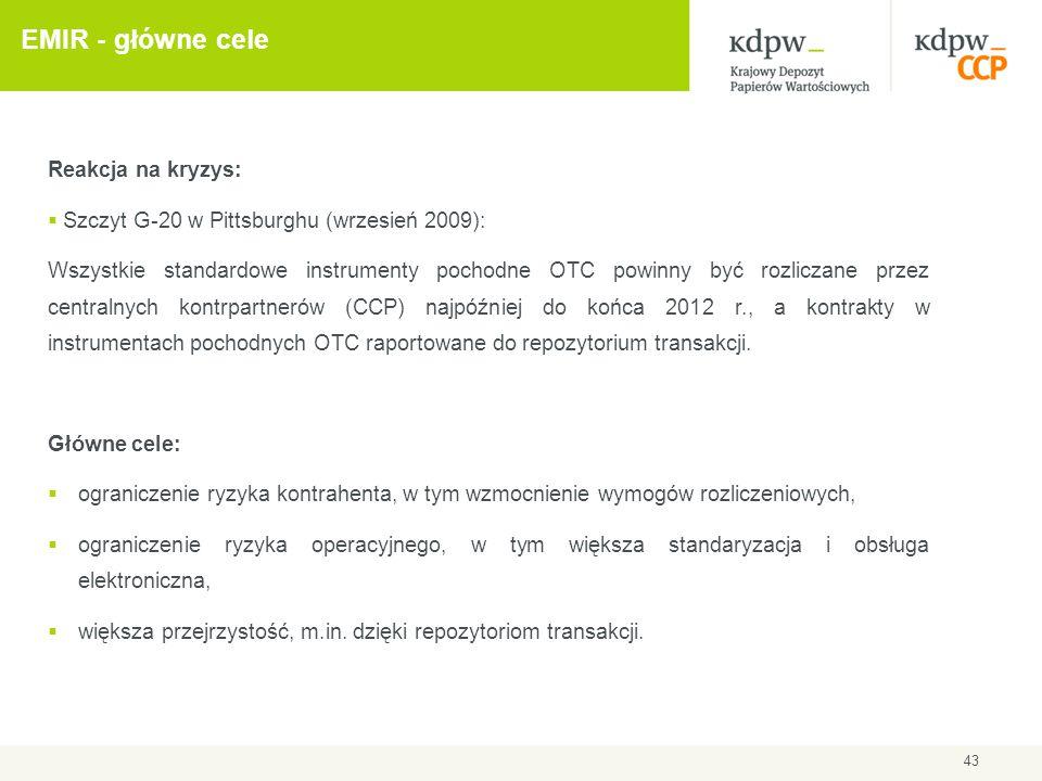 EMIR - główne cele Reakcja na kryzys: