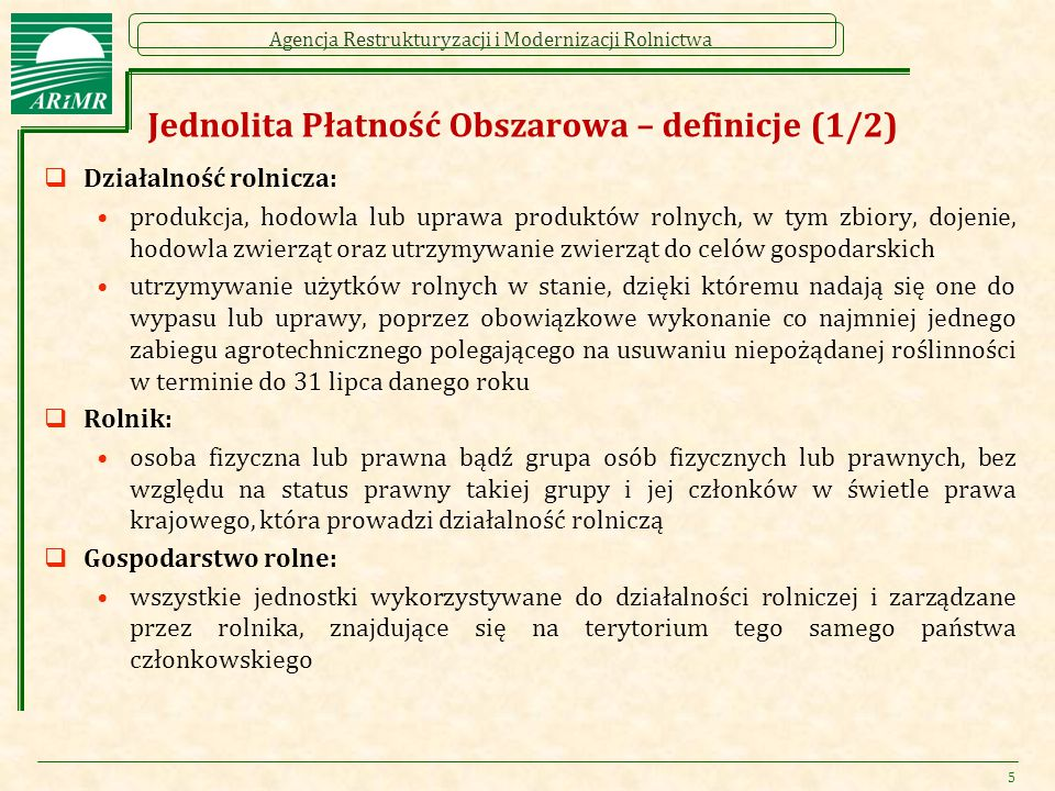 Jednolita Płatność Obszarowa – definicje (1/2)