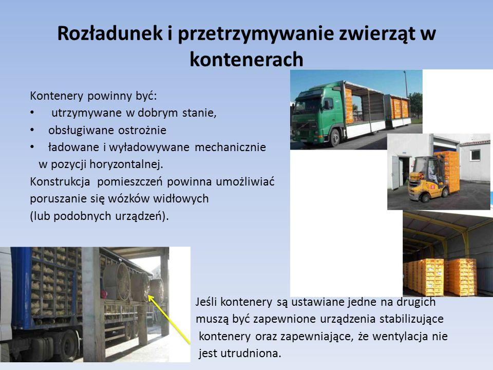 Rozładunek i przetrzymywanie zwierząt w kontenerach