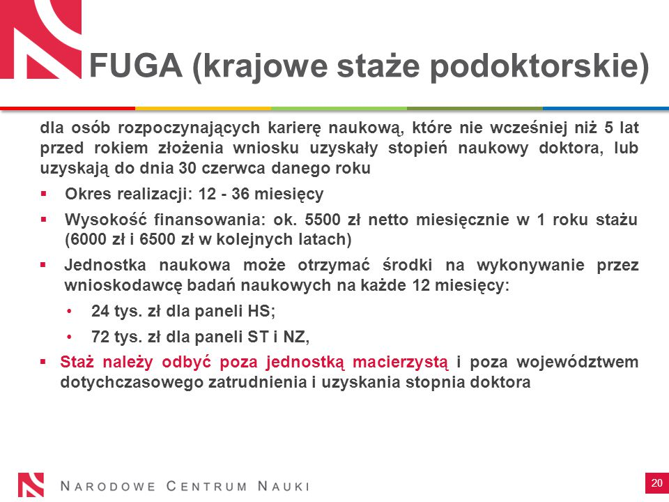 FUGA (krajowe staże podoktorskie)