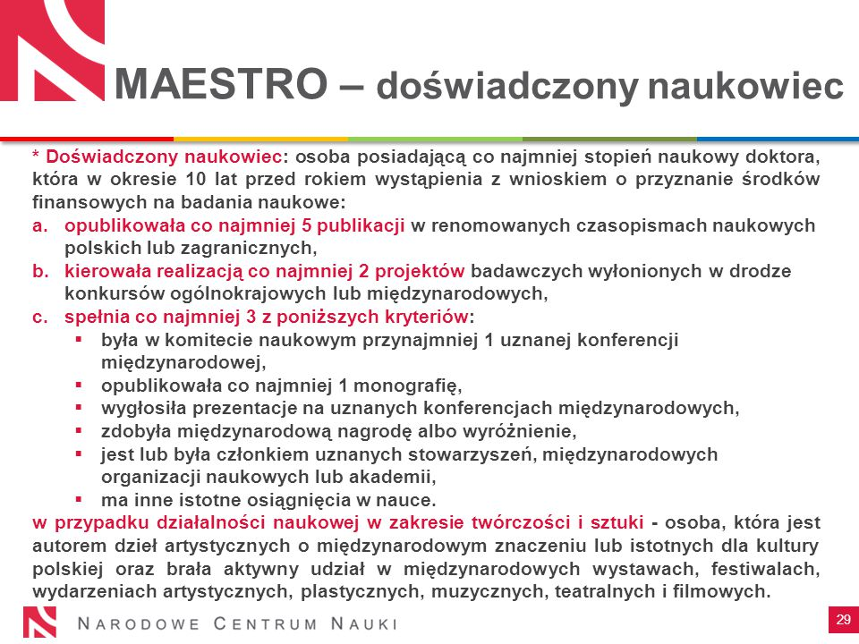 MAESTRO – doświadczony naukowiec