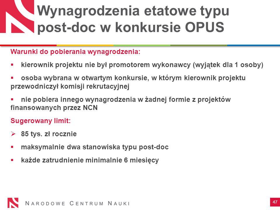 Wynagrodzenia etatowe typu post-doc w konkursie OPUS