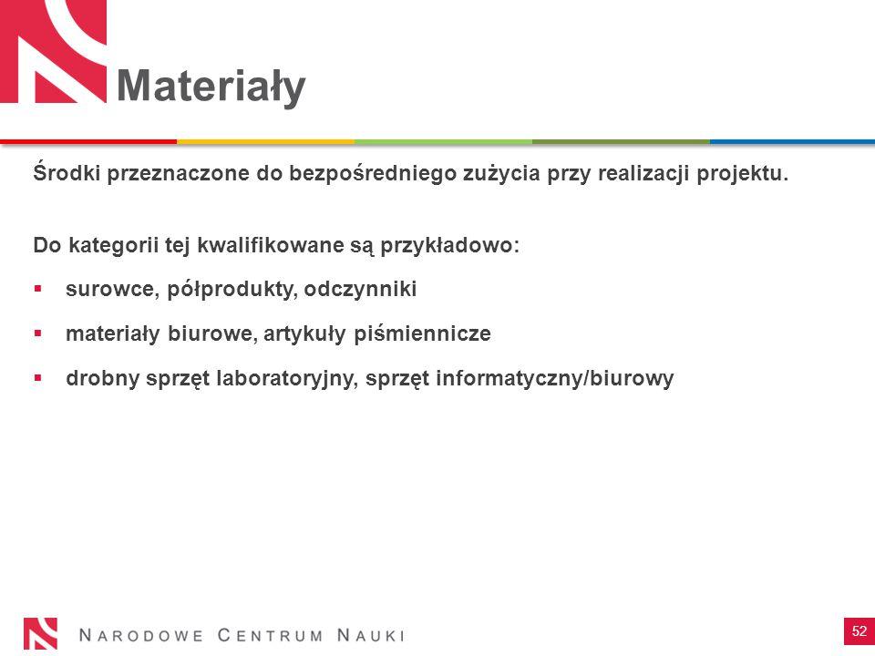Materiały Środki przeznaczone do bezpośredniego zużycia przy realizacji projektu. Do kategorii tej kwalifikowane są przykładowo: