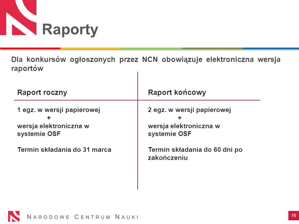 Raporty Dla konkursów ogłoszonych przez NCN obowiązuje elektroniczna wersja raportów. Raport roczny.