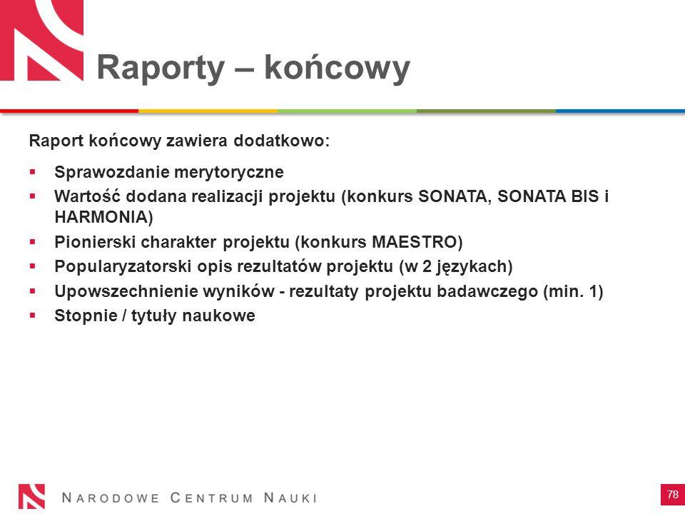 Raporty – końcowy Raport końcowy zawiera dodatkowo: