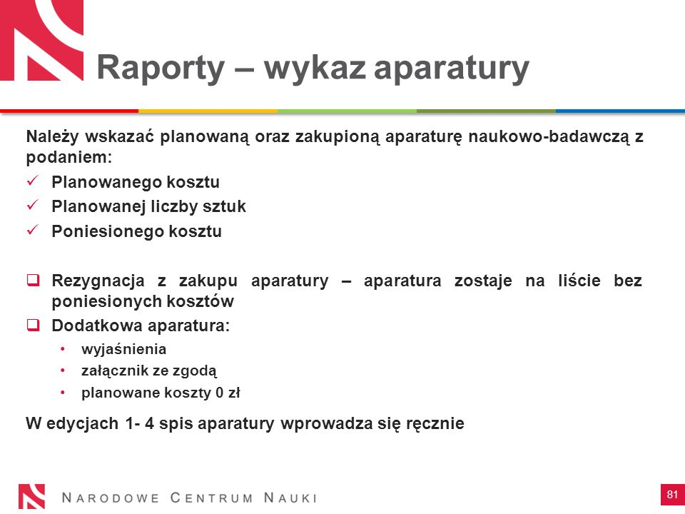Raporty – wykaz aparatury