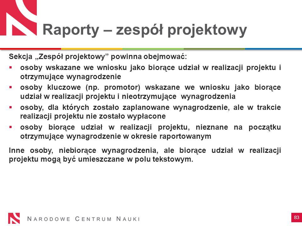 Raporty – zespół projektowy