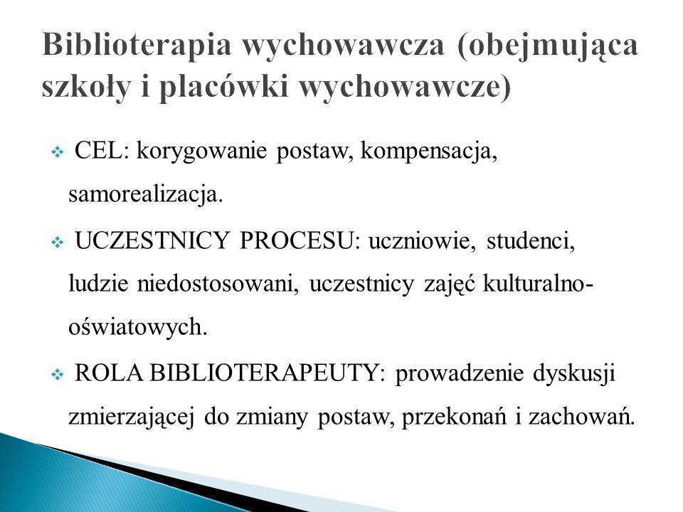 Biblioterapia wychowawcza (obejmująca szkoły i placówki wychowawcze)