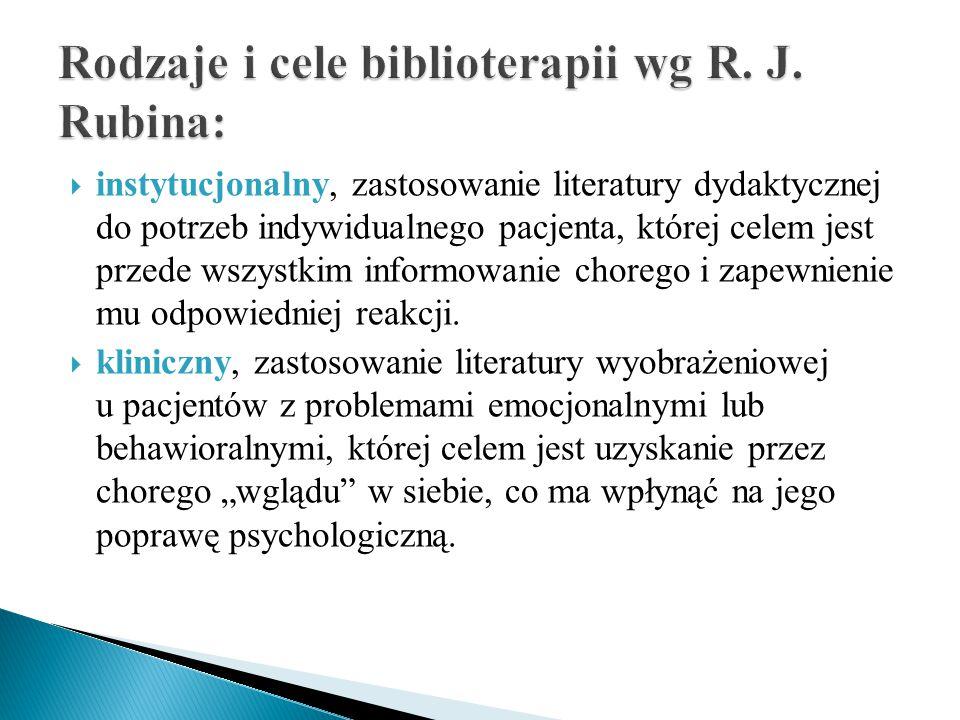 Rodzaje i cele biblioterapii wg R. J. Rubina:
