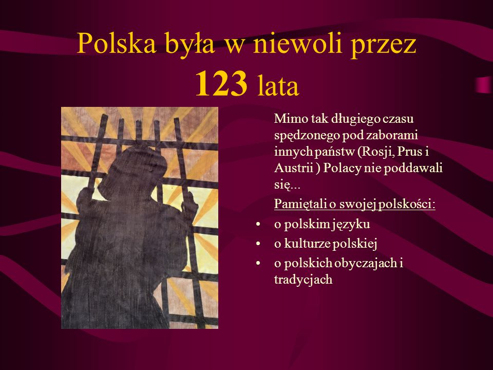Polska była w niewoli przez 123 lata