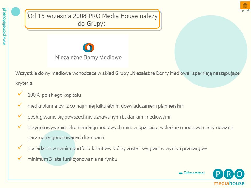 Od 15 września 2008 PRO Media House należy do Grupy: