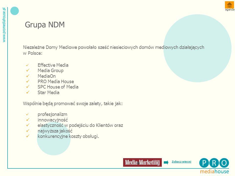 agenda Grupa NDM. Niezależne Domy Mediowe powołało sześć niesieciowych domów mediowych działających w Polsce: