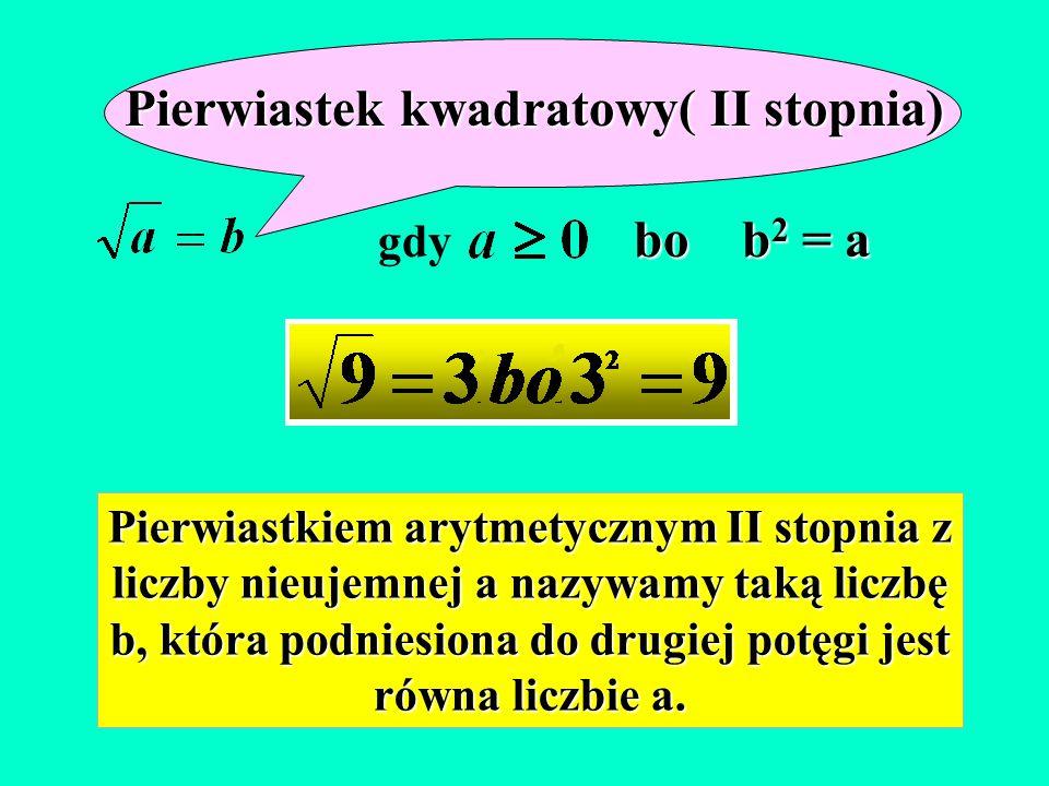 Pierwiastek kwadratowy( II stopnia)
