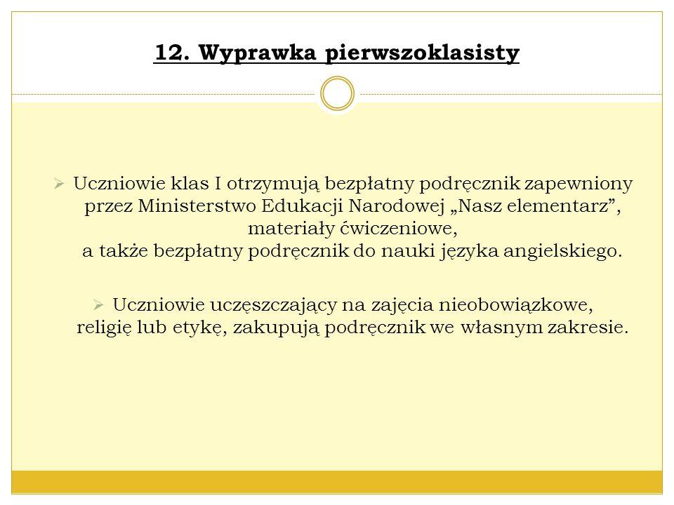 12. Wyprawka pierwszoklasisty