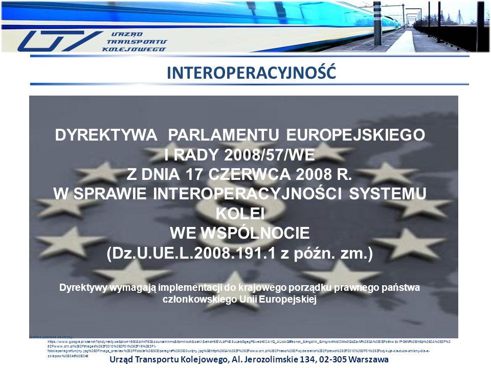 INTEROPERACYJNOŚĆ DYREKTYWA PARLAMENTU EUROPEJSKIEGO I RADY 2008/57/WE