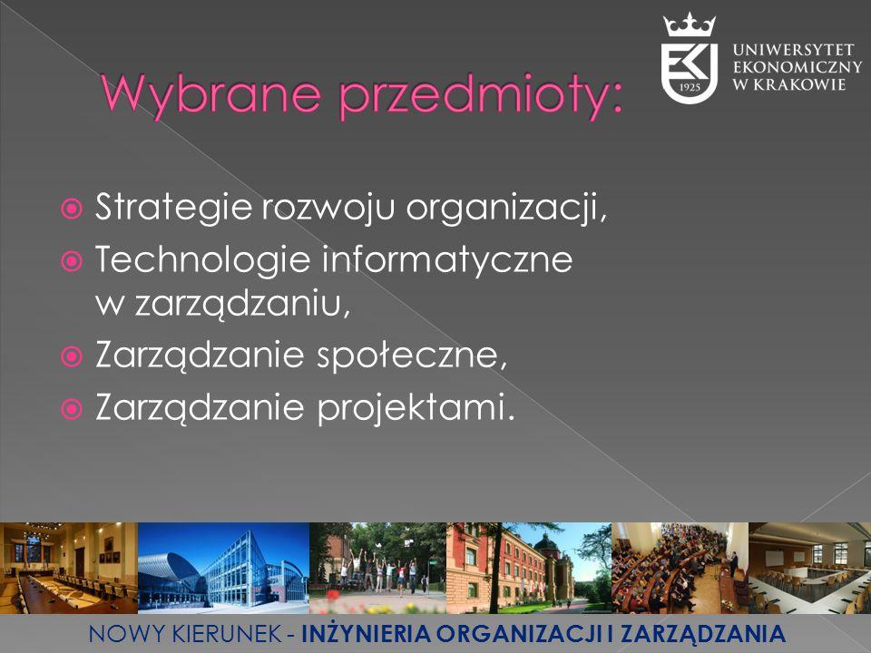 Wybrane przedmioty: Strategie rozwoju organizacji,