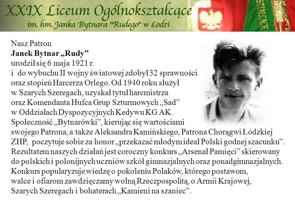 """Nasz Patron Janek Bytnar """"Rudy urodził się 6 maja 1921 r"""