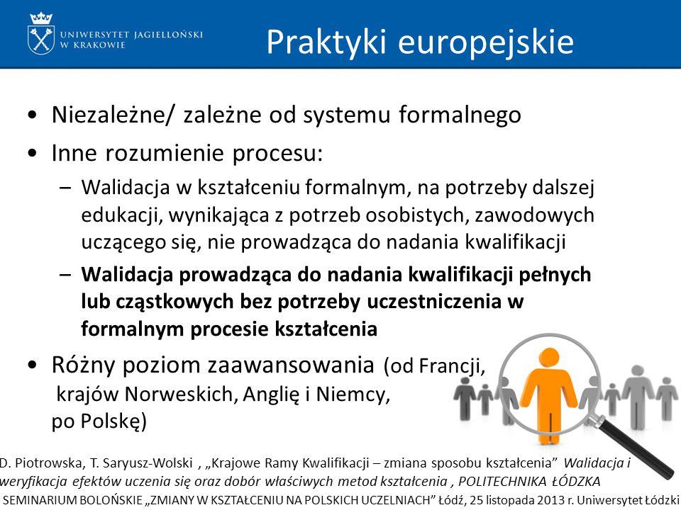 Praktyki europejskie Niezależne/ zależne od systemu formalnego