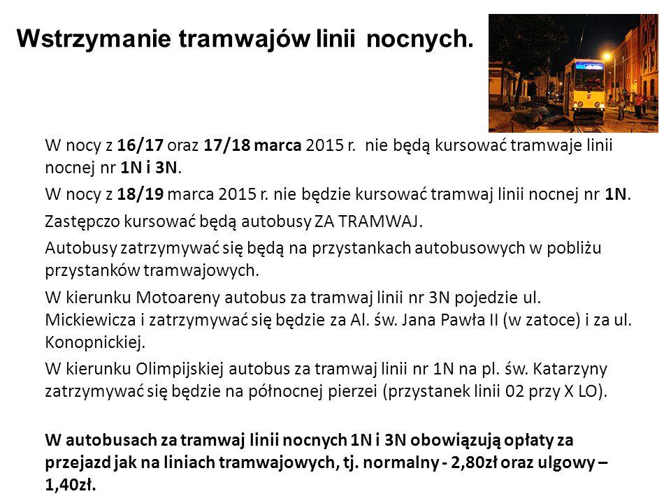 Wstrzymanie tramwajów linii nocnych.