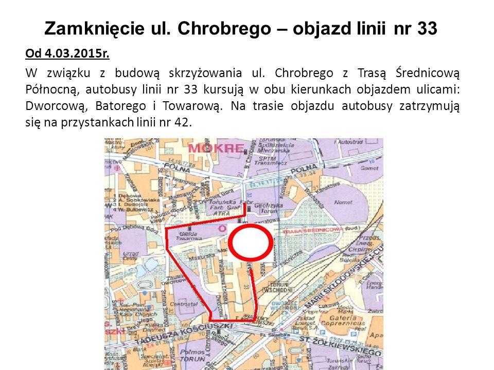 Zamknięcie ul. Chrobrego – objazd linii nr 33