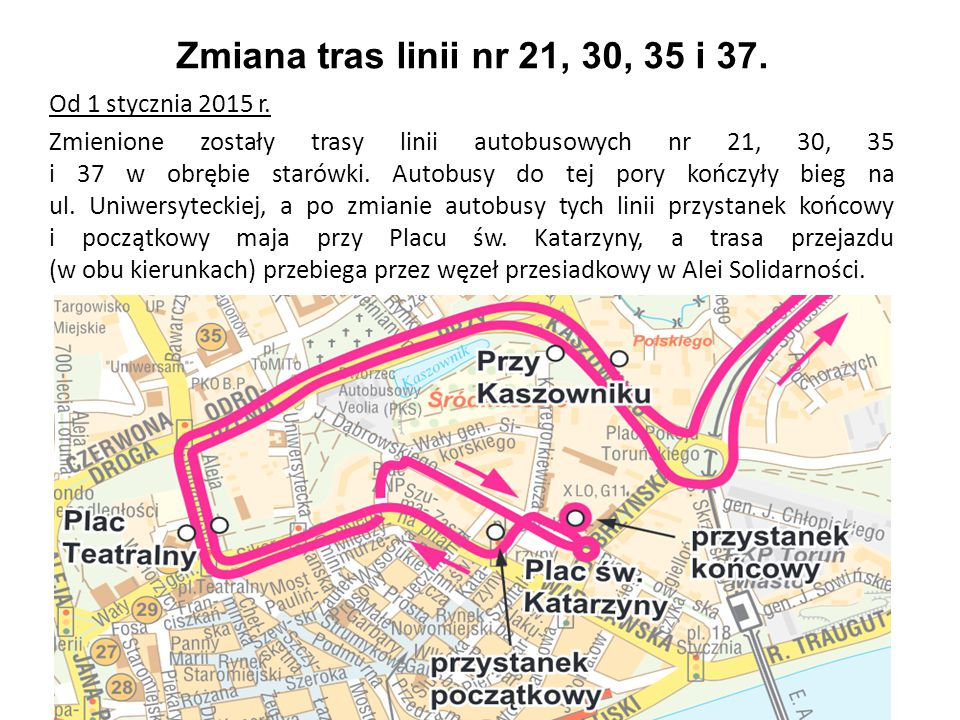 Zmiana tras linii nr 21, 30, 35 i 37.
