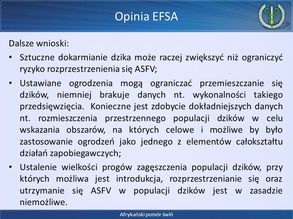 Opinia EFSA Dalsze wnioski: