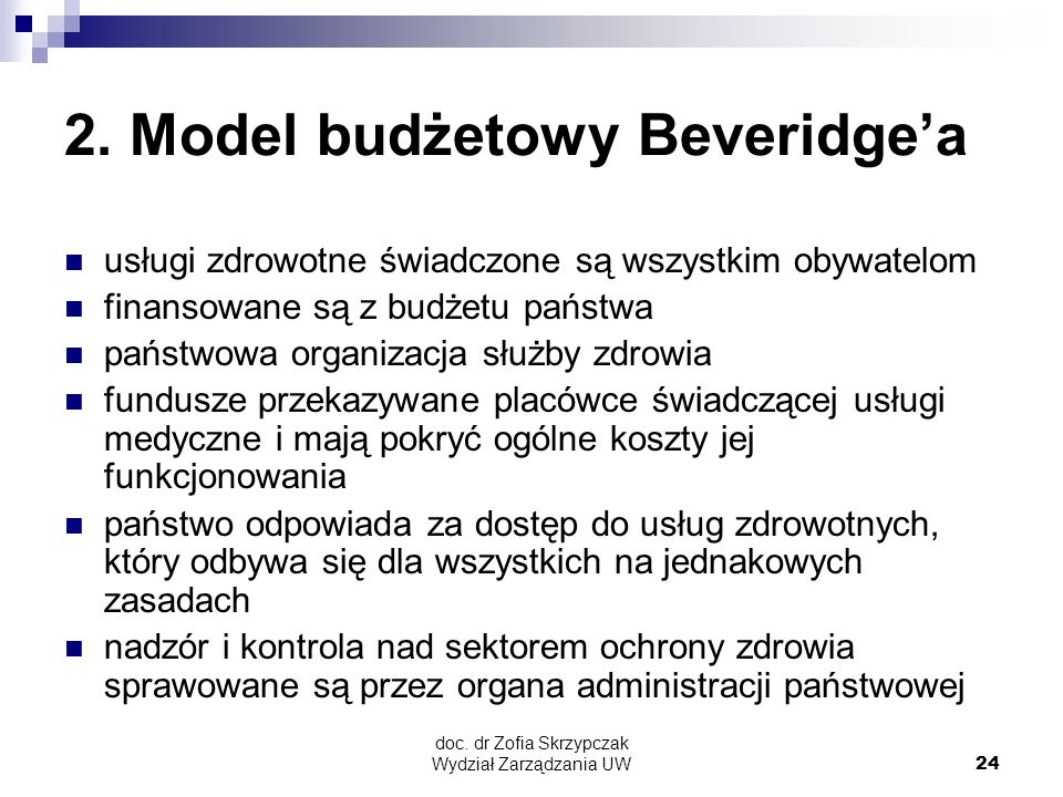 2. Model budżetowy Beveridge'a