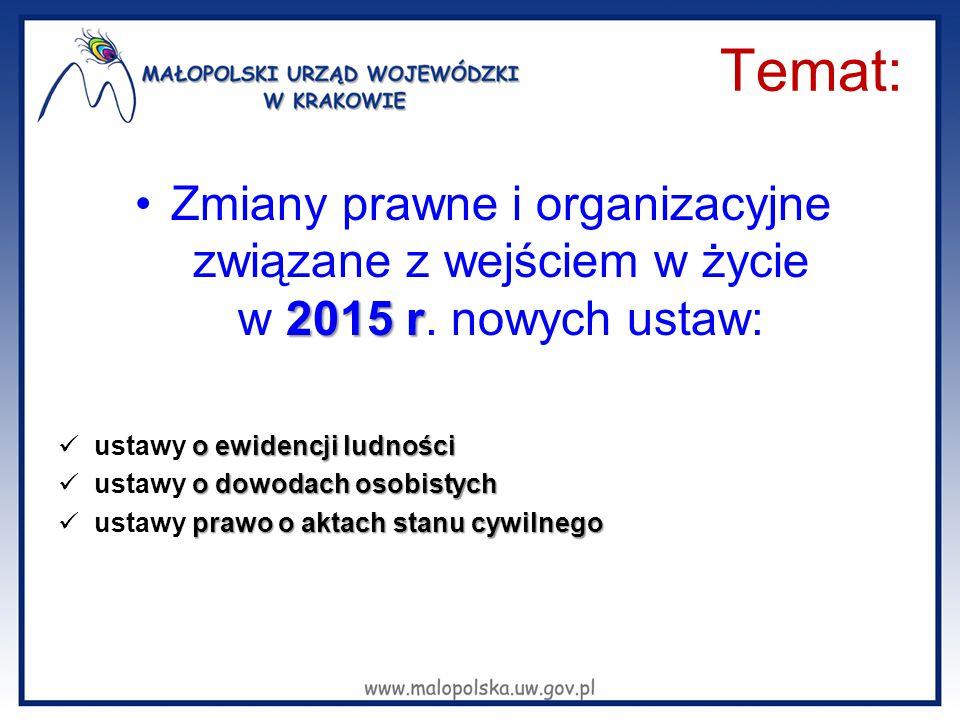 Temat: Zmiany prawne i organizacyjne związane z wejściem w życie w 2015 r. nowych ustaw: