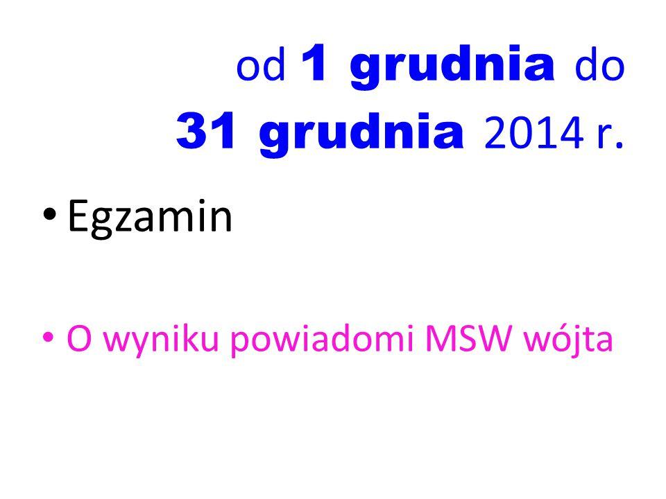 od 1 grudnia do 31 grudnia 2014 r. Egzamin