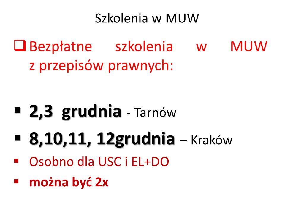 2,3 grudnia - Tarnów 8,10,11, 12grudnia – Kraków