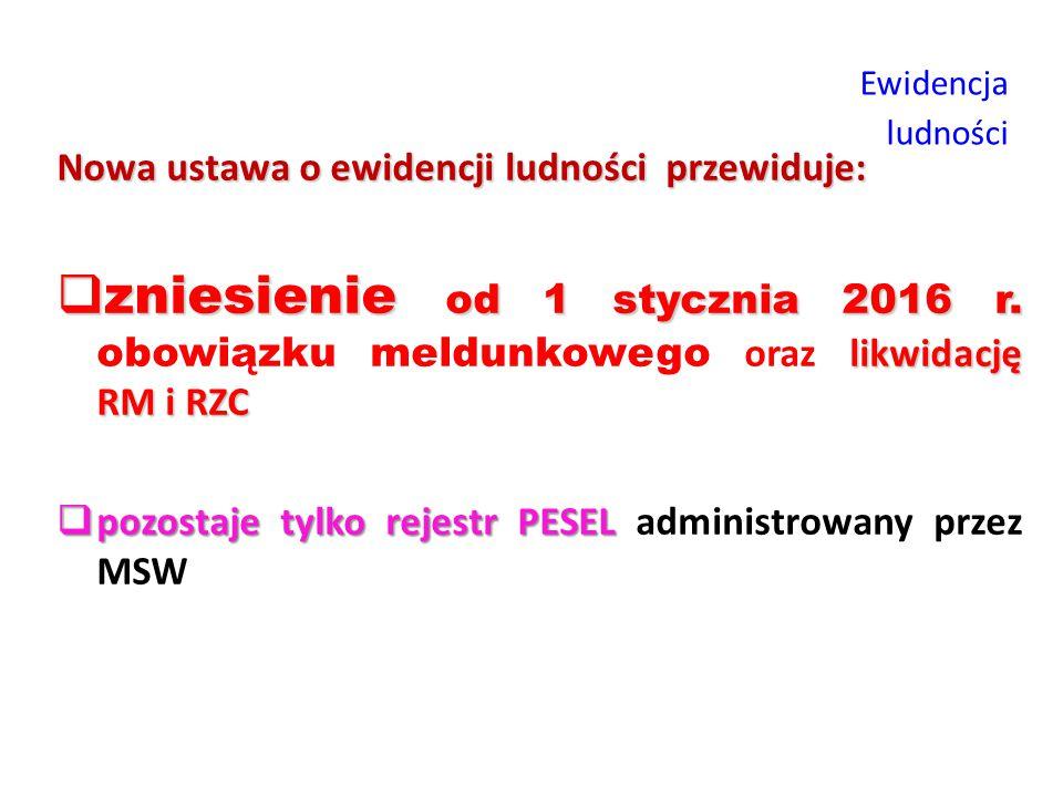 Ewidencja ludności Nowa ustawa o ewidencji ludności przewiduje: