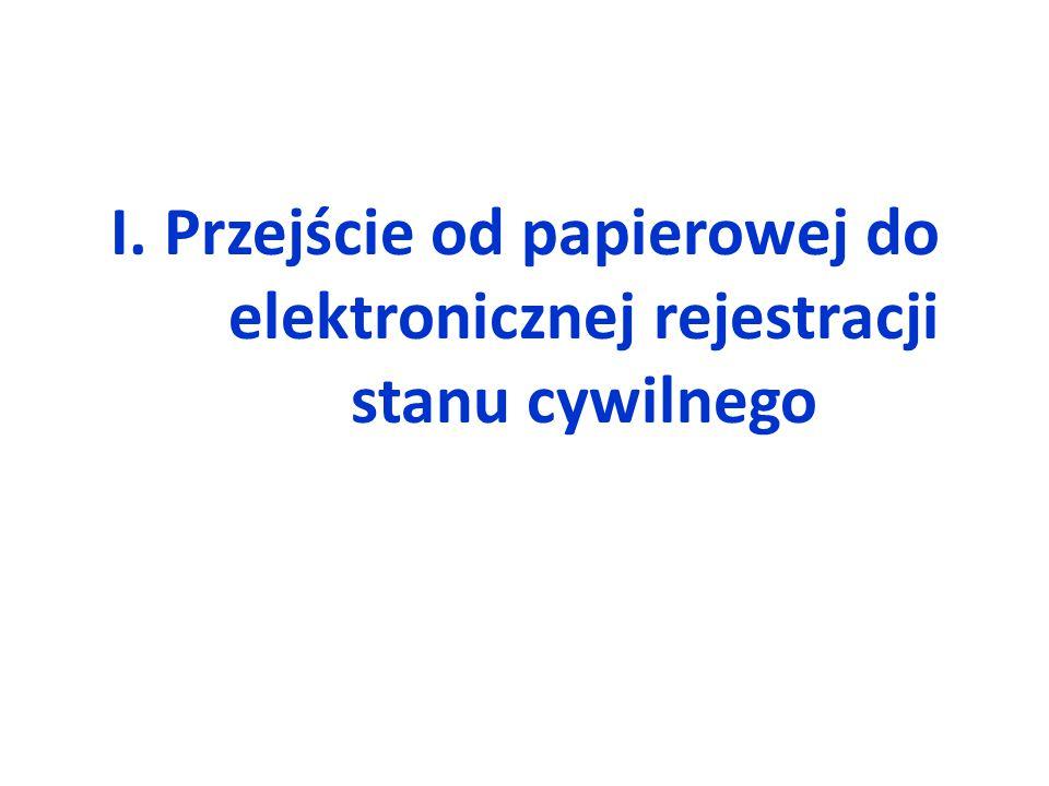 I. Przejście od papierowej do elektronicznej rejestracji stanu cywilnego