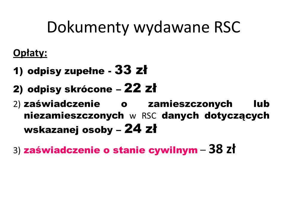Dokumenty wydawane RSC