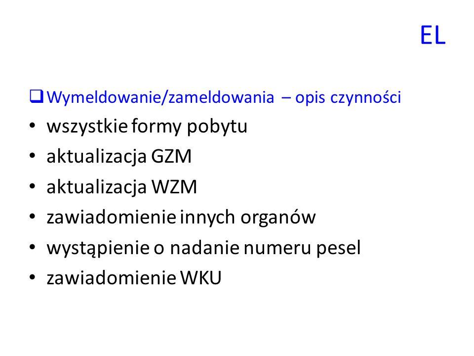 EL wszystkie formy pobytu aktualizacja GZM aktualizacja WZM