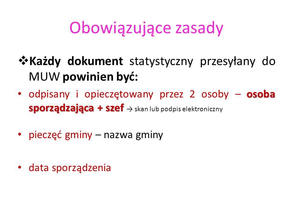 Obowiązujące zasady Każdy dokument statystyczny przesyłany do MUW powinien być: