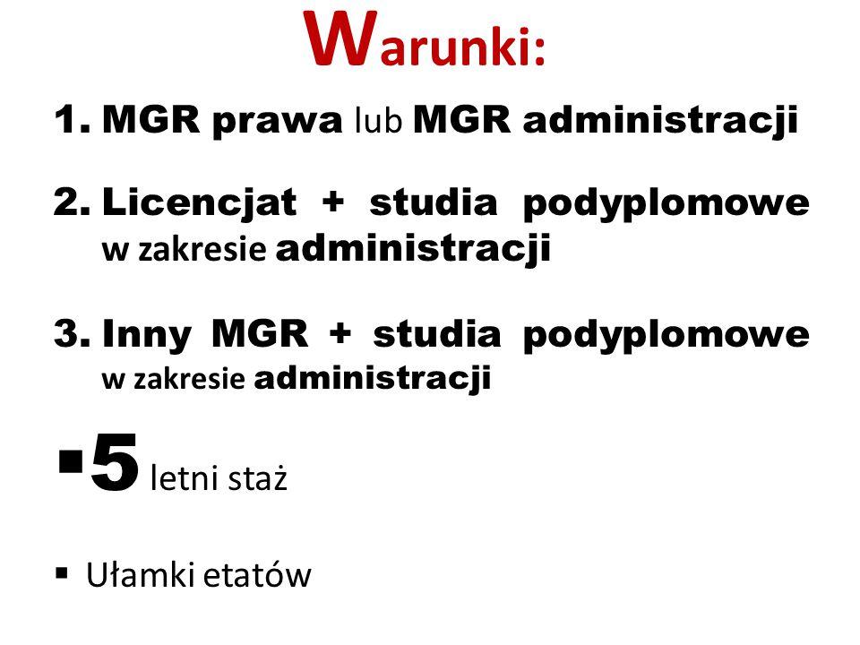 Warunki: 5 letni staż MGR prawa lub MGR administracji
