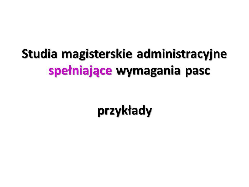 Studia magisterskie administracyjne spełniające wymagania pasc