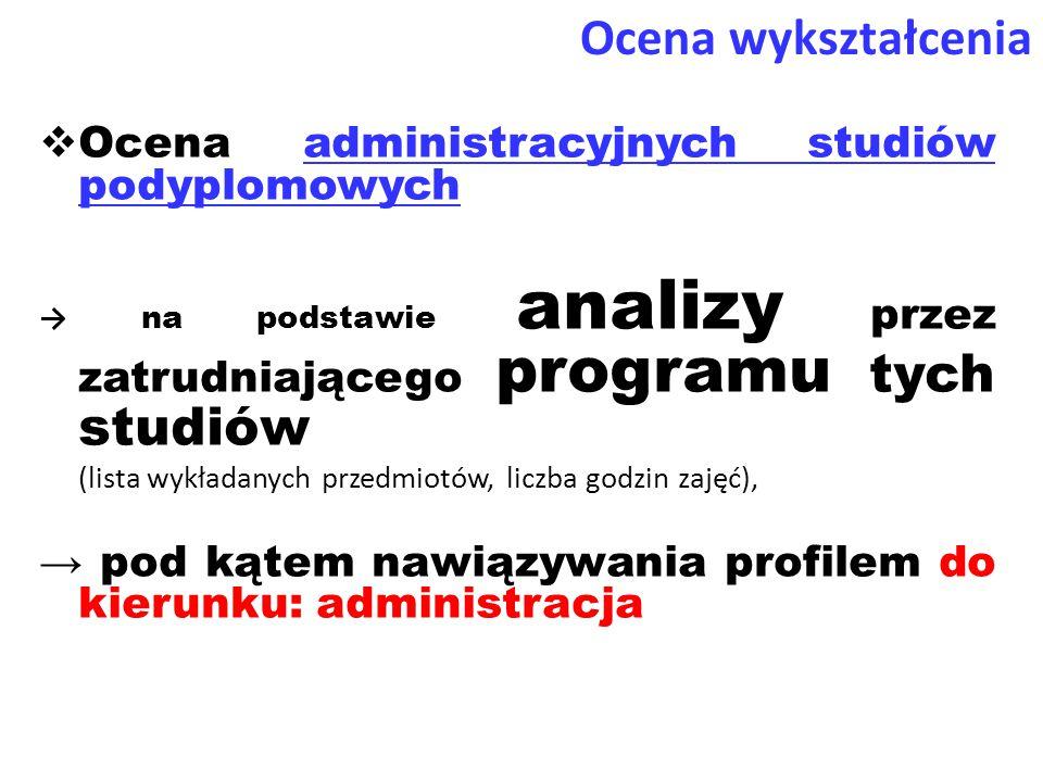 Ocena wykształcenia Ocena administracyjnych studiów podyplomowych