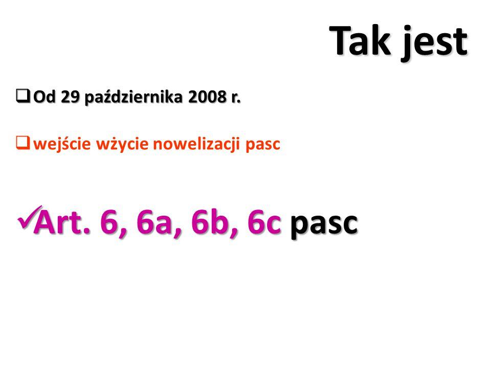 Tak jest Art. 6, 6a, 6b, 6c pasc Od 29 października 2008 r.