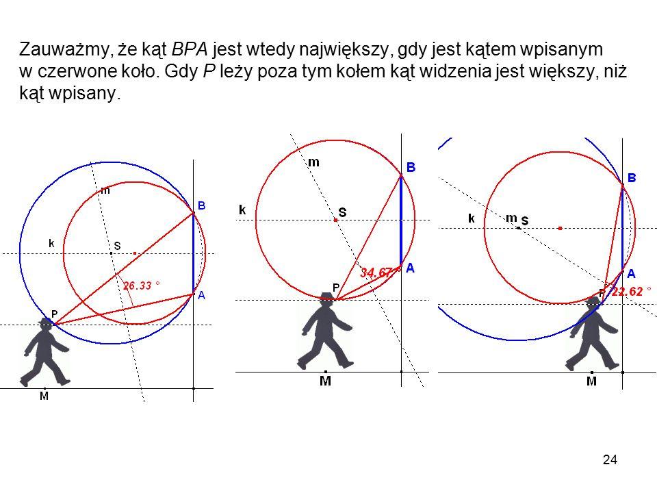 Zauważmy, że kąt BPA jest wtedy największy, gdy jest kątem wpisanym w czerwone koło.