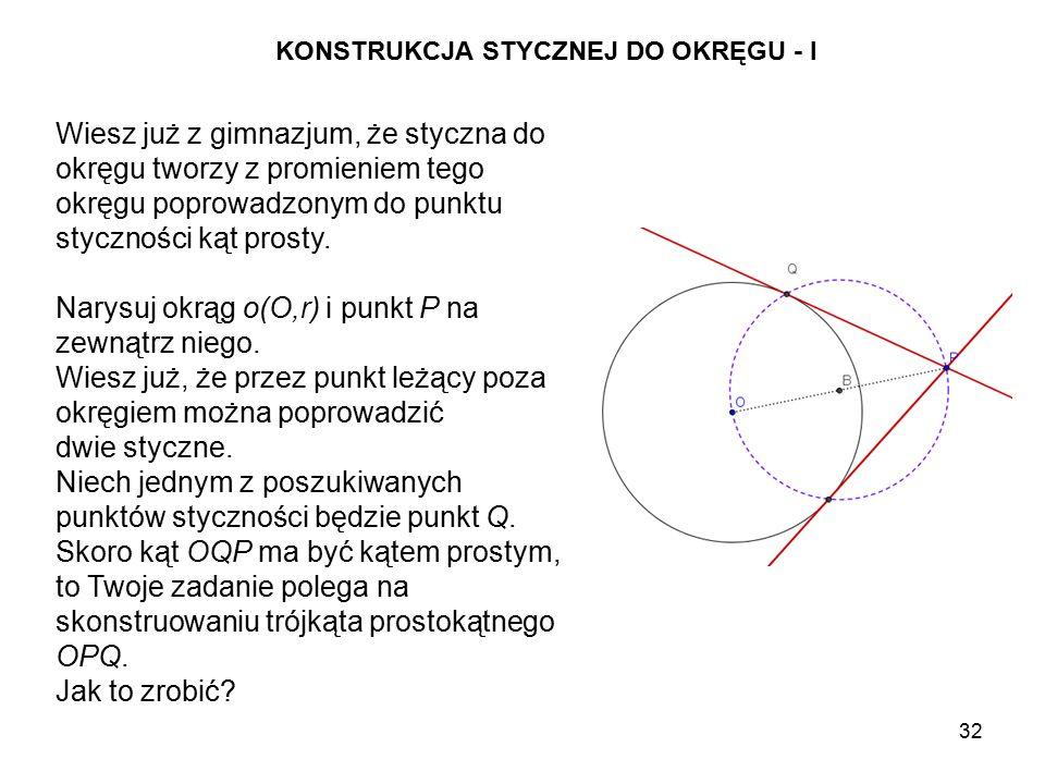 Narysuj okrąg o(O,r) i punkt P na zewnątrz niego.