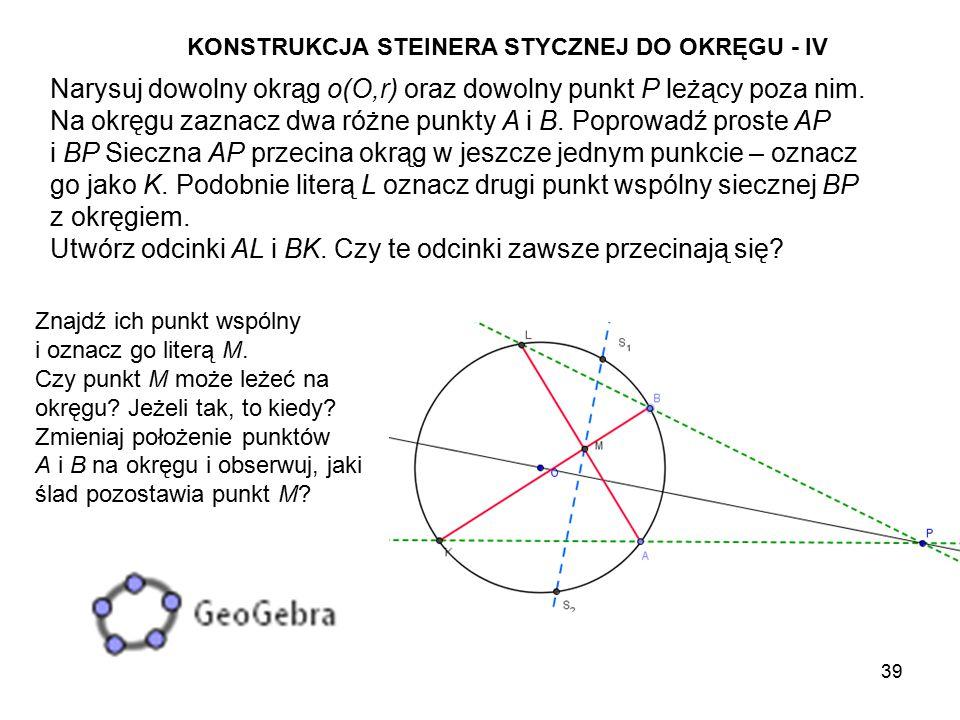 Narysuj dowolny okrąg o(O,r) oraz dowolny punkt P leżący poza nim.