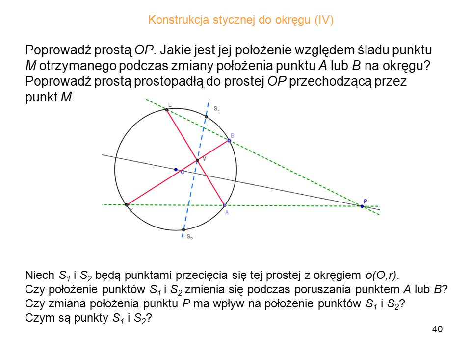 Konstrukcja stycznej do okręgu (IV)