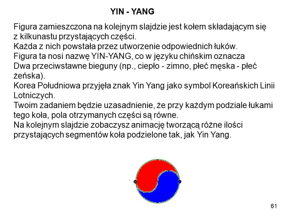YIN - YANG Figura zamieszczona na kolejnym slajdzie jest kołem składającym się. z kilkunastu przystających części.