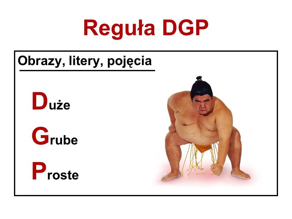 Reguła DGP Obrazy, litery, pojęcia Duże Grube Proste