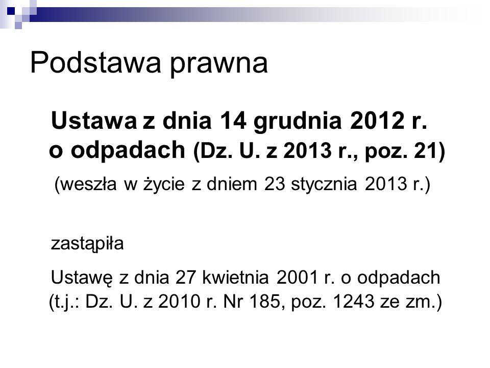 Podstawa prawna Ustawa z dnia 14 grudnia 2012 r. o odpadach (Dz. U. z 2013 r., poz. 21) (weszła w życie z dniem 23 stycznia 2013 r.)